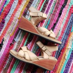 Shoes - Vintage Mexican leather wedge sandals